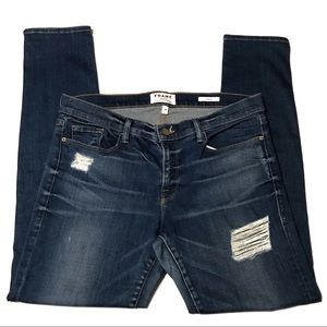 Frame Le Garcon Distressed Denim Skinny Jeans
